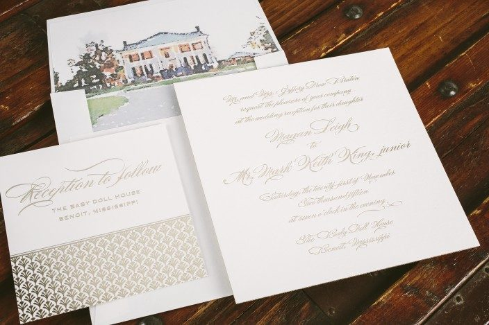 Custom foil stamped wedding invitations for a wedding at the Baby Doll House in Mississippi