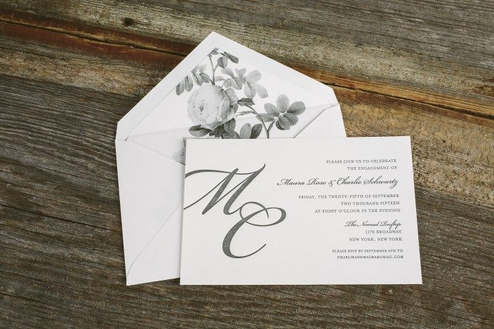 Letterpress engagement party invitations from Smock