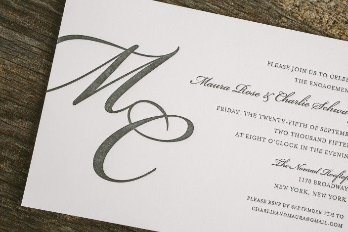 Monogrammed engagement party invitations from Smock