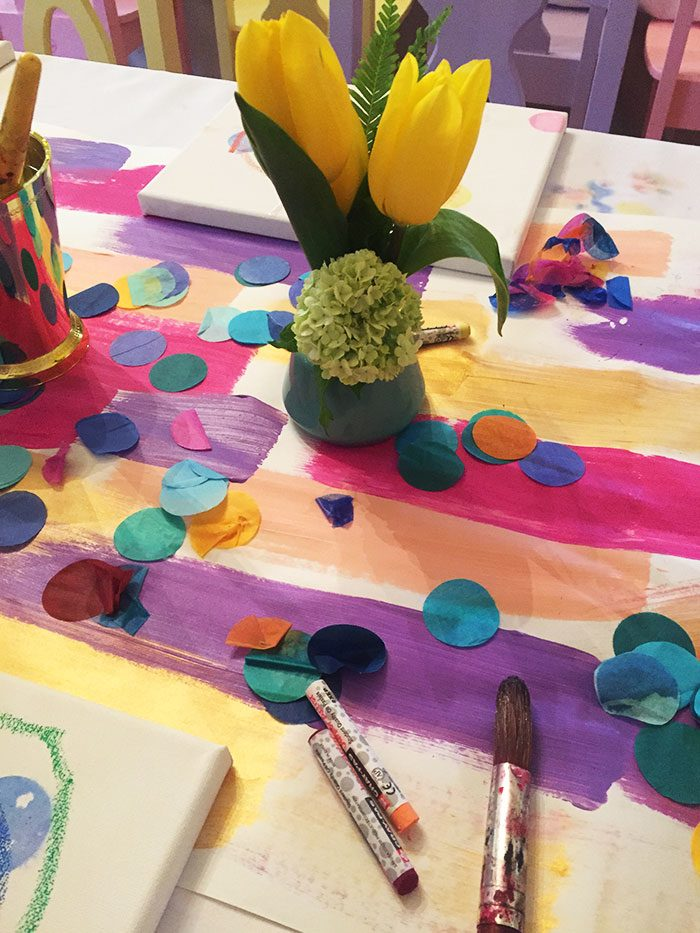 Paint party centerpieces