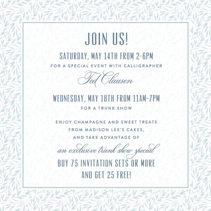 Join the invitation experts from Smock for a trunk show at the Bella Figura flagship store!