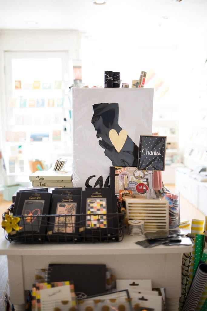 Product displays at Urbanic Paper Boutique