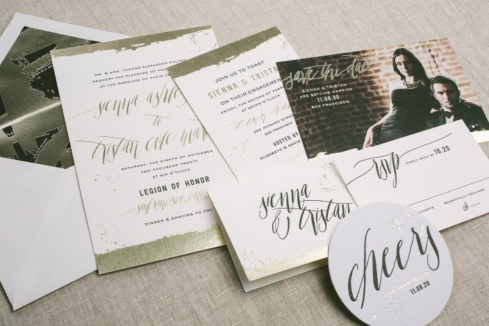 Lennon foil stamped wedding invitations from Smock