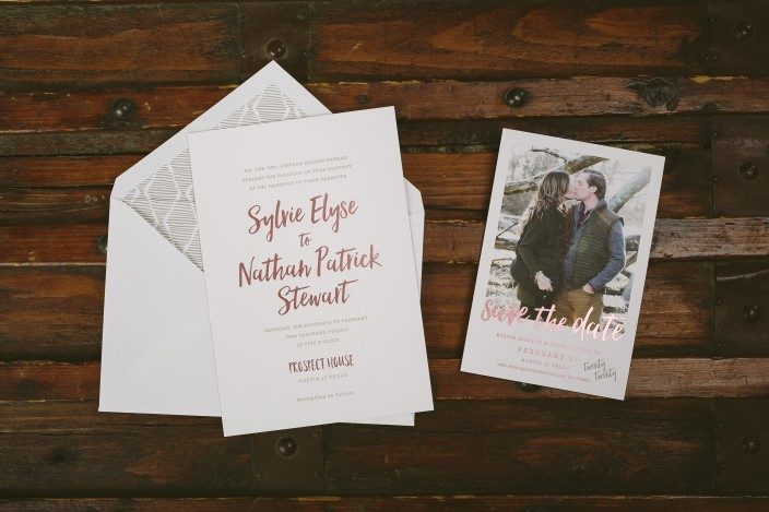 New Prospect wedding invitations from Smock