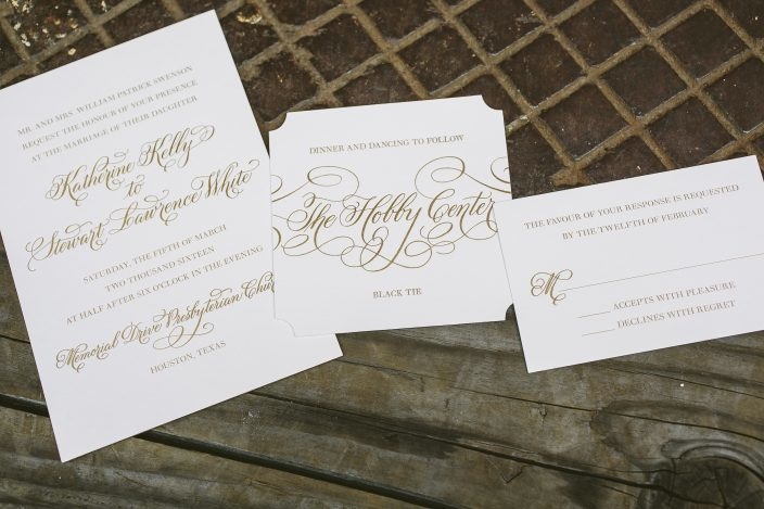 Gold foil wedding invitations from Smock