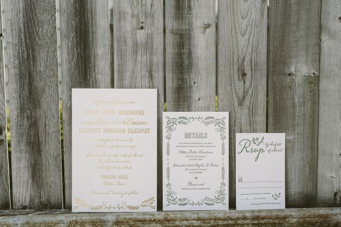 Rustic green + gold wedding invitations from Smock