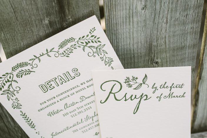 Rustic green wedding invitations from Smock