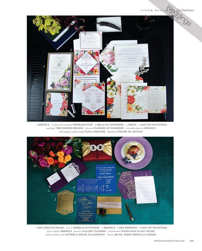 Weddings in Houston summer 2016 stationery feature