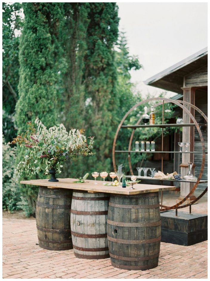 Rustic meets modern wine barrel bar