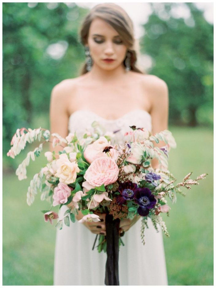 Elegant bridal bouquet featured in Weddings Unveiled magazine shoot