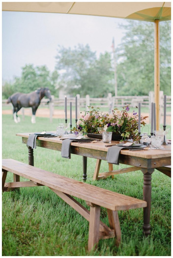 Sperry wedding tent + rustic table settings + horse ranch wedding inspiration