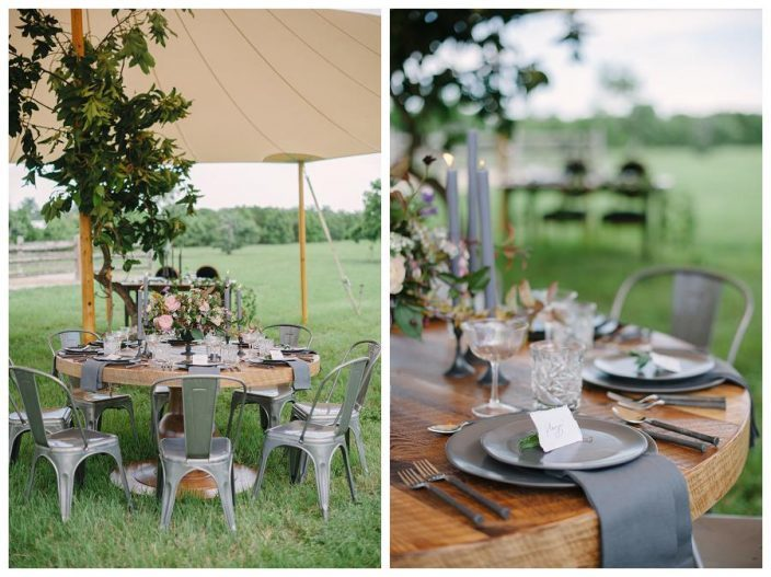 Sperry wedding tent, rustic table settings