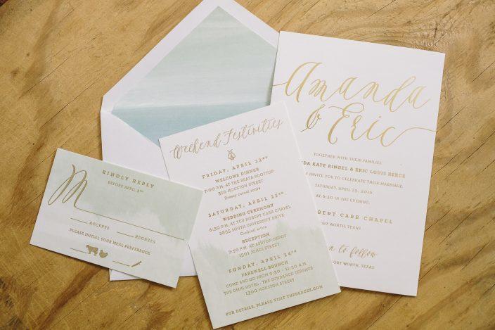 letterpress ink gold foil color gold matte digital ink color mint fonts design lavish timber greenway ellory design paper 1 ply white - Mint And Gold Wedding Invitations