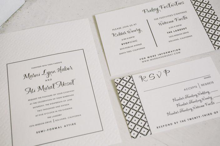 Custom Flynn wedding invitations from Smock + Heirloom Paper