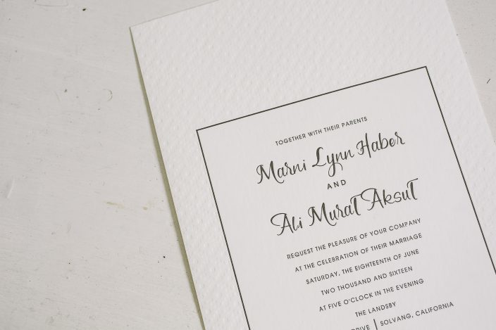 Custom Flynn wedding invitations from Smock + Heirloom Paper