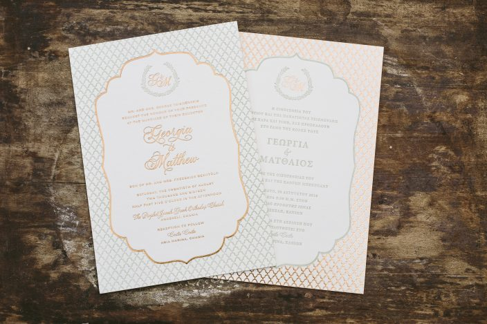 Double-sided bilingual invitations from Smock