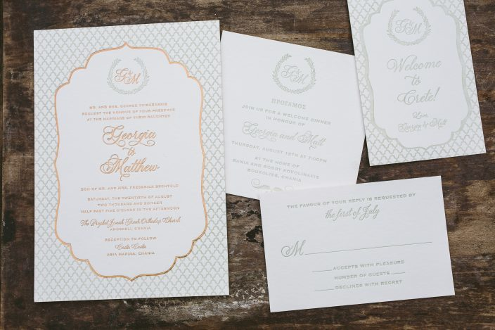 Double-sided bilingual invitation suite from Smock