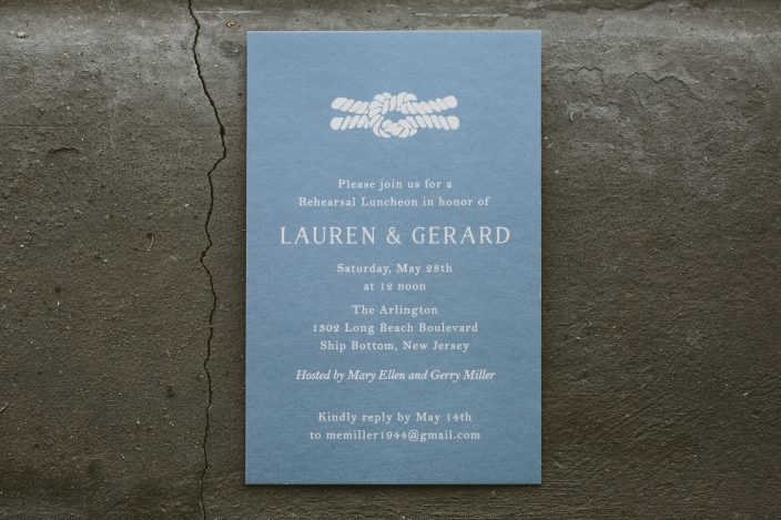 Nautical rehearsal dinner invitations from Smock