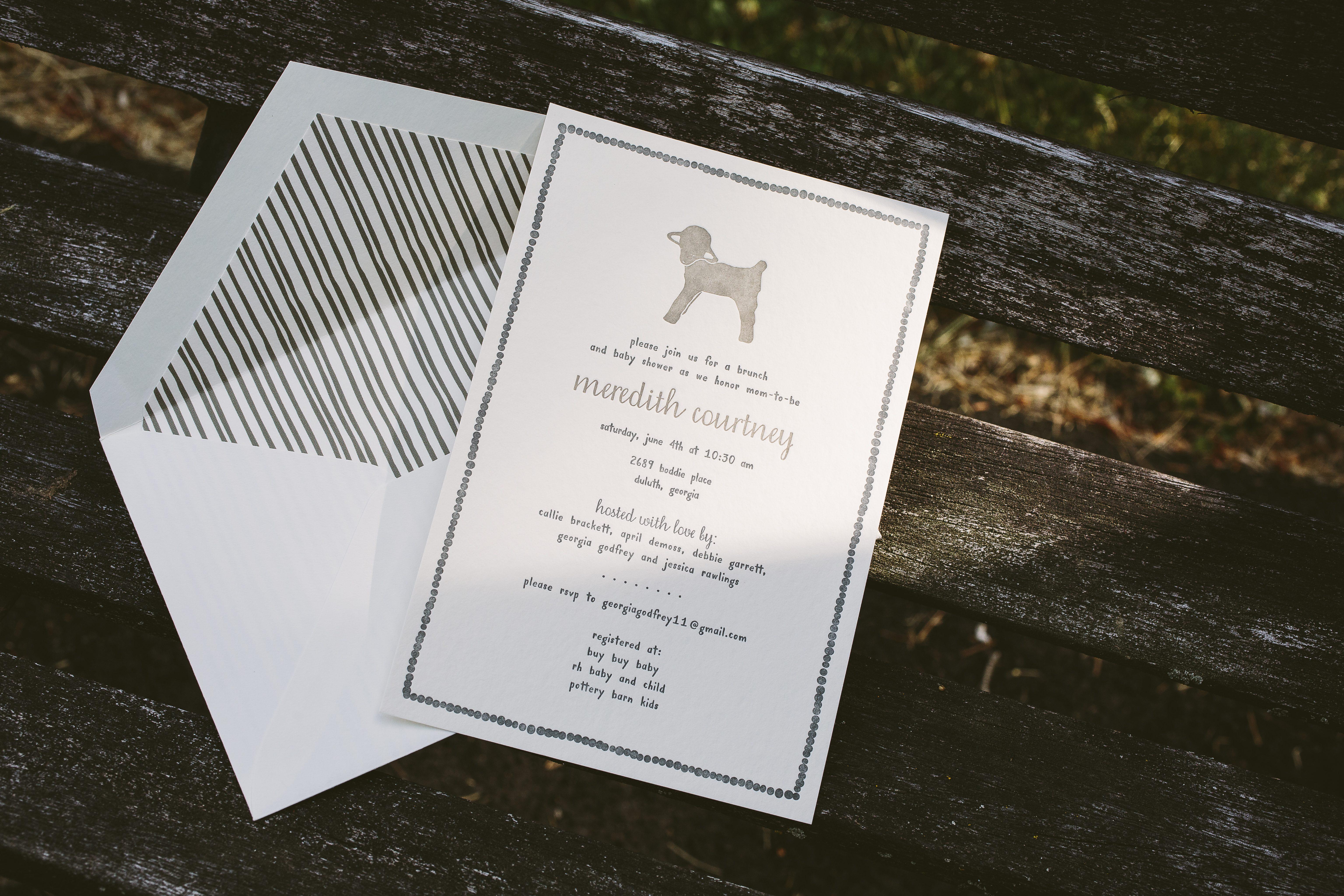Little lamb gender neutral baby shower invitations from Smock - Smock.