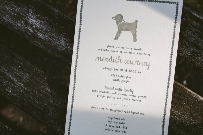 Little lamb gender neutral baby shower invitations from Smock