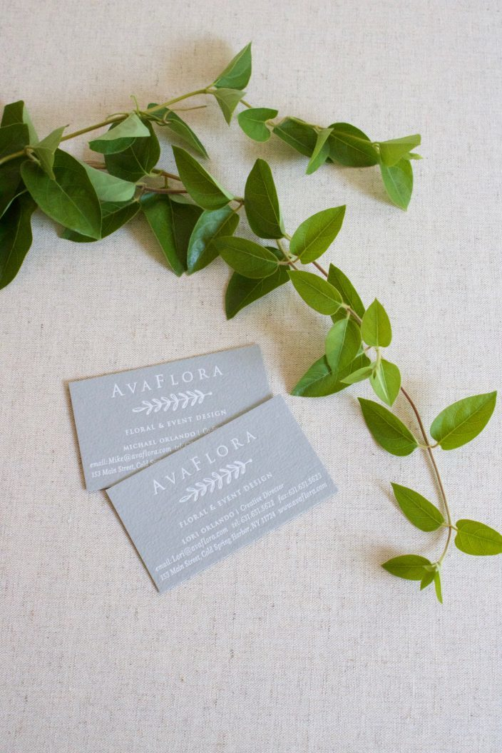 Ava Flora gray + white foil stamped business cards by Smock