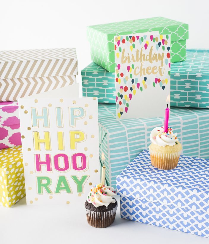 Hip Hip Hooray + Birthday Cheer gold foil + digitally printed greeting cards and keepsake boxes from Smock