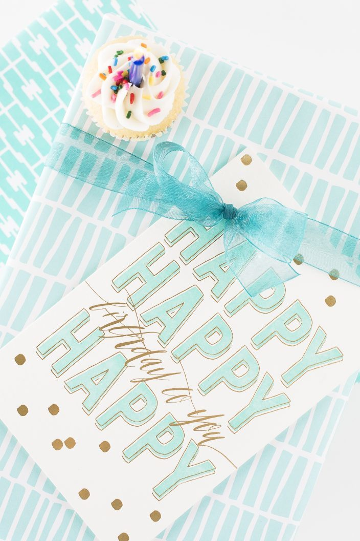 Happy Birthday turquoise + gold foil stamped birthday cards + Indigo and Turk gift wrap from Smock