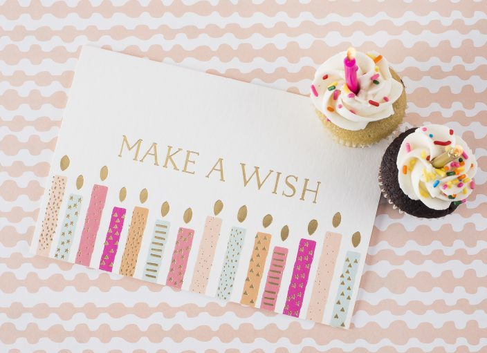 Make a Wish gold foil + digitally printed birthday card from Smock