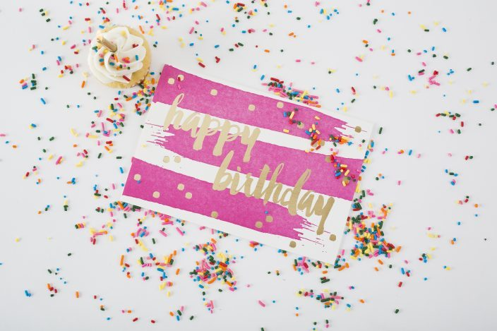 Hot pink + gold foil birthday card from Smock