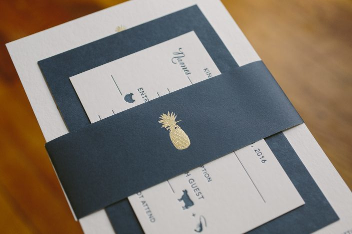 Navy + gold pineapple wedding invitations from Smock