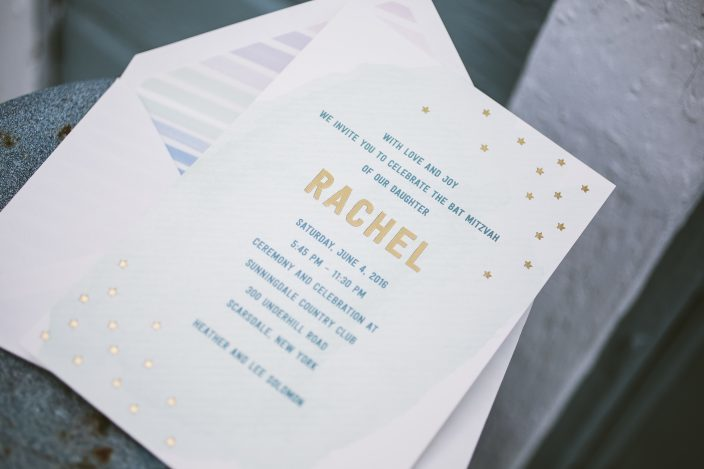 Pastel Bat Mitzvah invitations from Smock