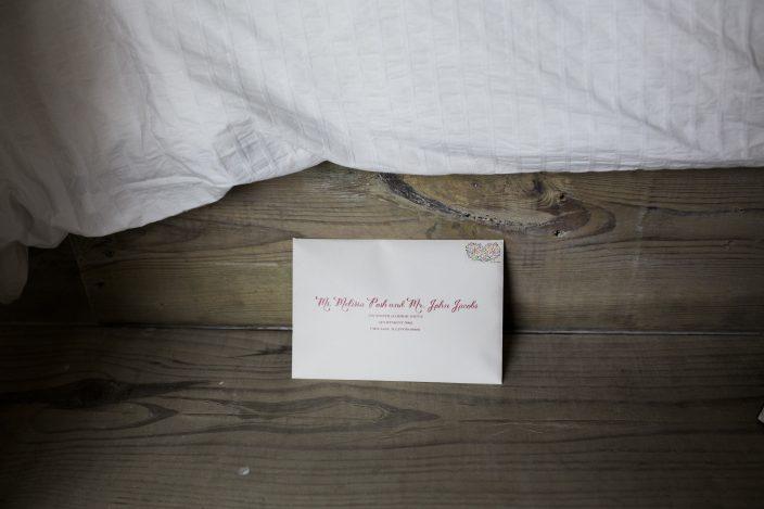 Digitally addressed wedding invitation envelopes from Smock