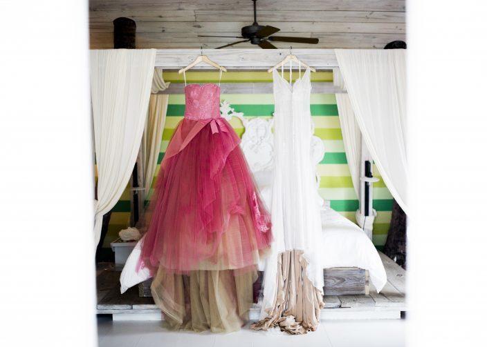 Custom pink Vera Wang wedding gown + Josefina Vera Wang gown