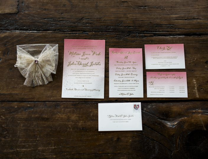 Pink ombre wedding invitations from Smock