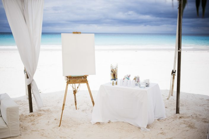 wedding canvas guestbook with paints