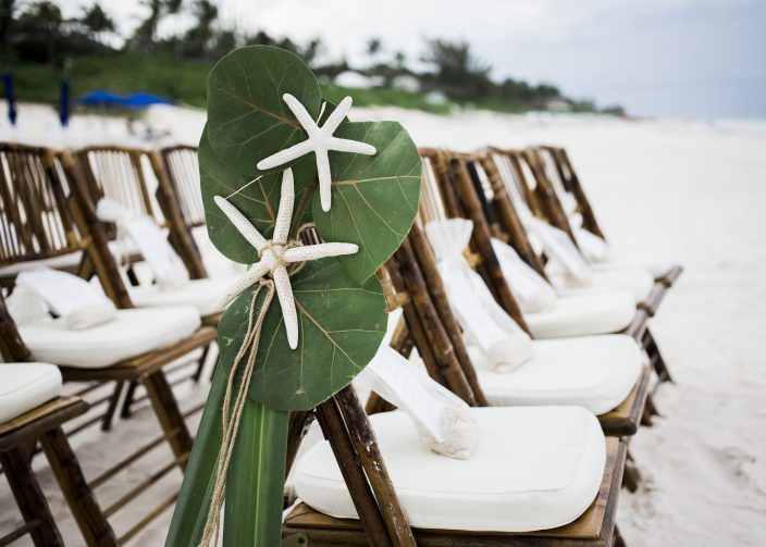 Beach wedding ceremony seating