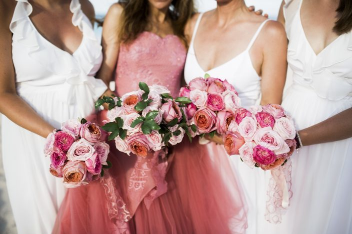 Custom pink Vera Wang wedding gown, bridesmaids in white, pink bouquets