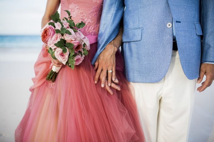 Custom pink Vera Wang wedding gown