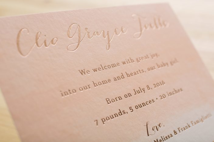 Painterly rose gold birth announcements from Smock