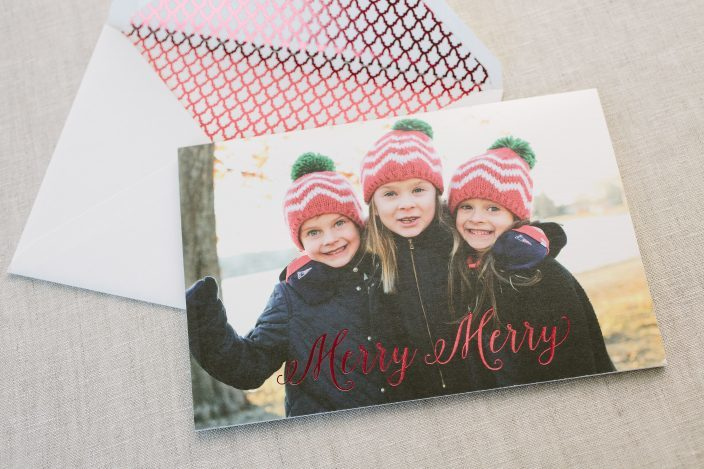 Digitally printed custom holiday photo cards with red foil stamping