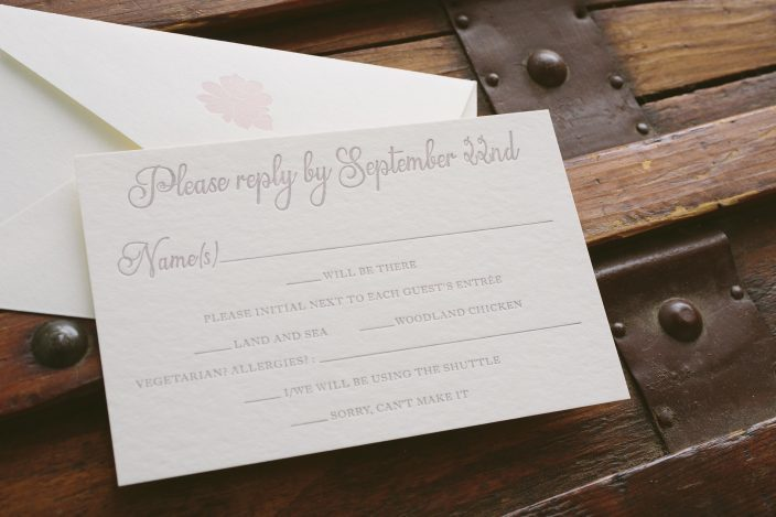 Elegant garden inspired wedding invitations featuring blind embossing and blind debossing