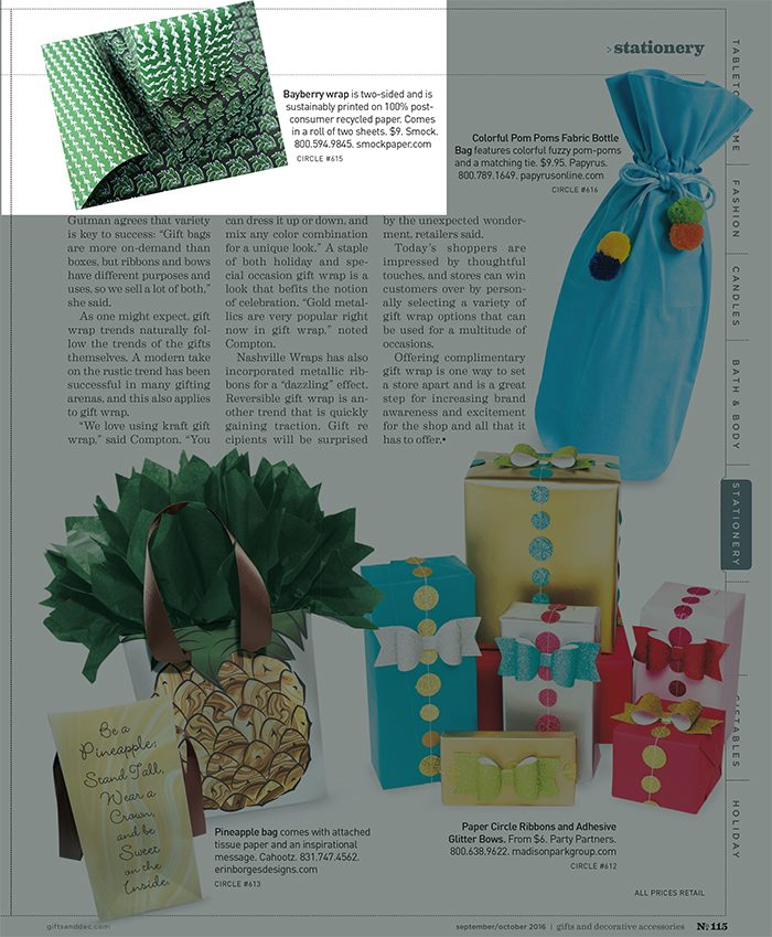Smock's double-sided Bayberry gift wrap featured in Gifts & Decorative Accessories magazine