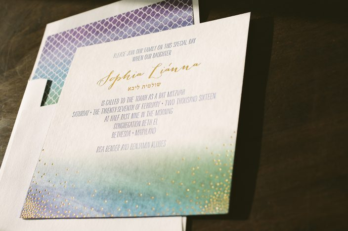 Custom jewel tone watercolor bat mitzvah invitations