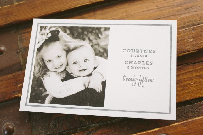 Custom letterpress holiday cards featuring digitally printed photos from Smock
