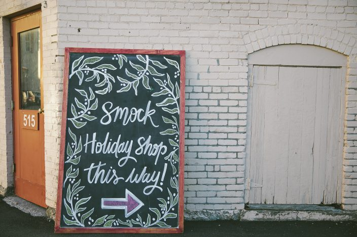 Hand-lettered chalkboard signage at the 2016 Smock Holiday Shop