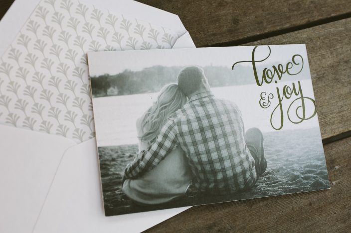 Holiday photo cards with engagement photos from Smock
