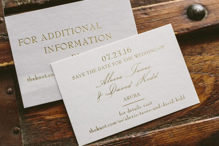 Custom foil stamped save the dates from Smock
