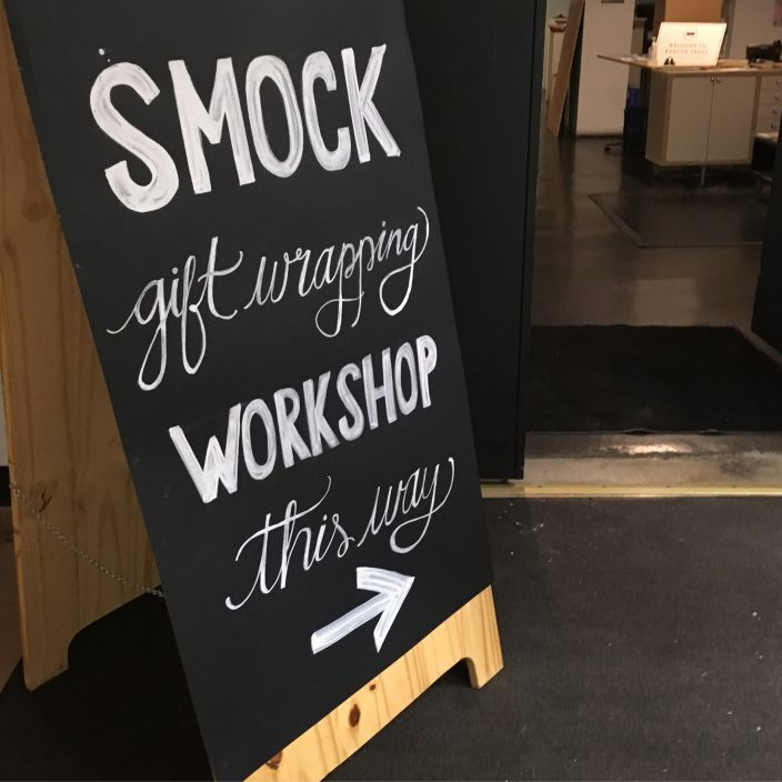Gift wrapping workshop signage from Smock