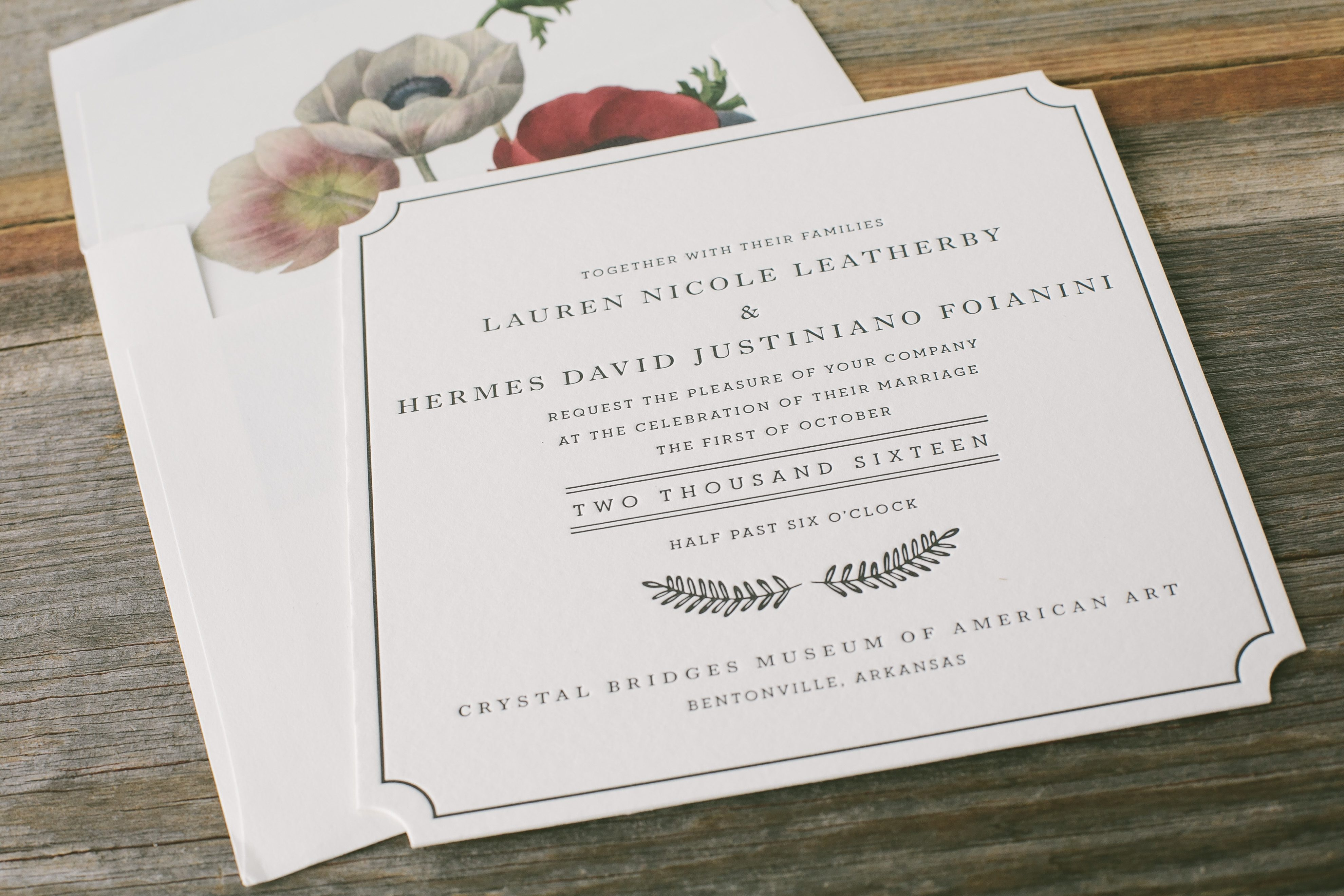 Die-cut letterpress wedding invitations with anemone vintage print ...