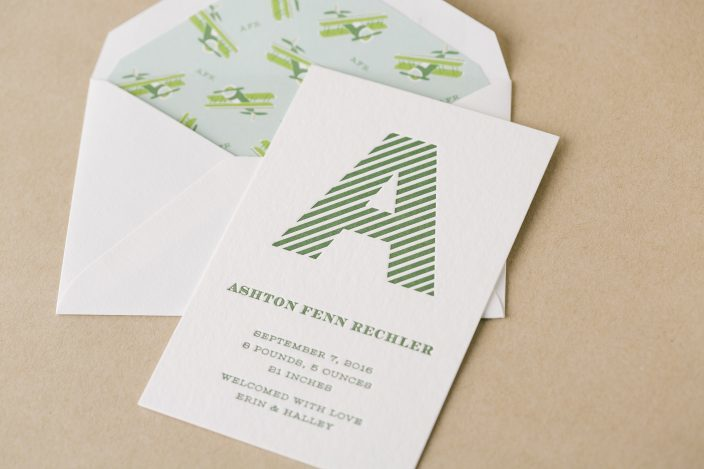 Letterpress baby announcements from Smock